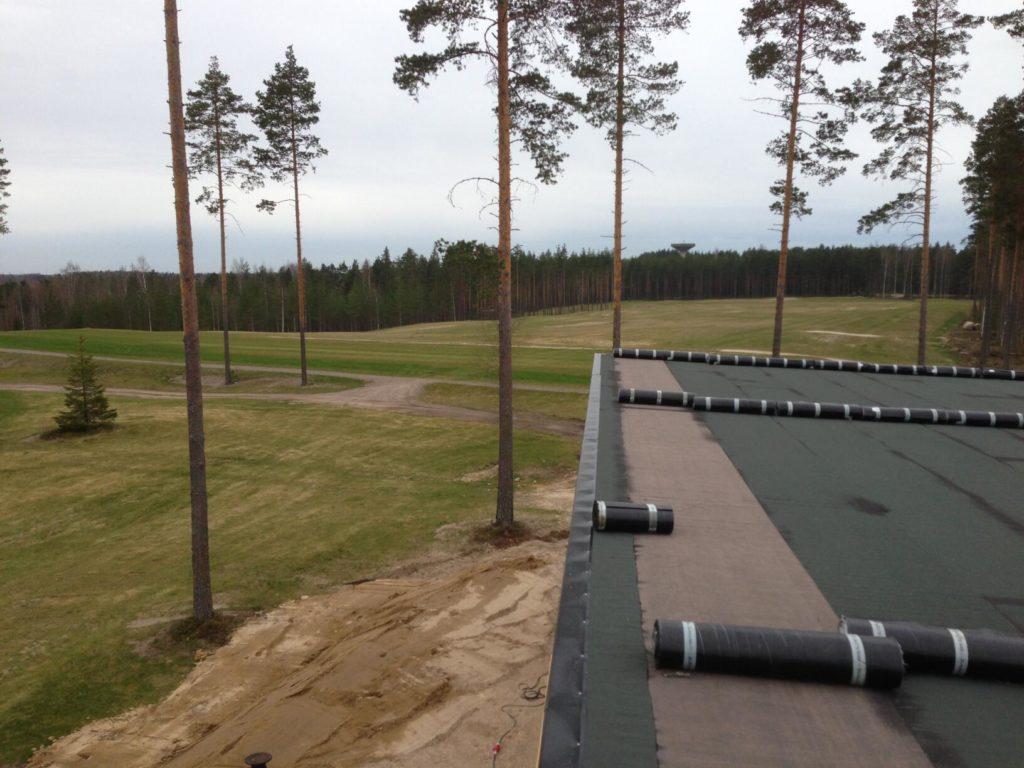Bituumenkatuse tegemine. Imatra Soome.